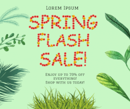 Red and Yellow Floral Text Spring Sale Ad