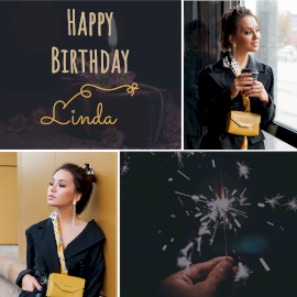 Online Editable Linda Happy Birthday Instagram Post 3 Grid Photo Collage