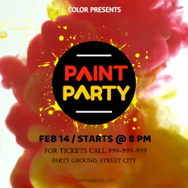 Online Editable Colorful Paint Party Animated Design