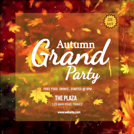 Online Editable Falling Leaves Autumn Grand Party Animated Design