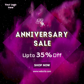 Online Editable Pink Space Anniversary Sale Offer Animated Design