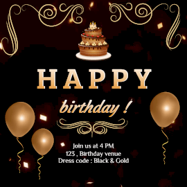 Online Editable Golden Glitter and Elegant Design Happy Birthday Animated Design