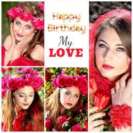 Online Editable Happy Birthday Wishes for Girlfriend 4 Grid Photo Collage