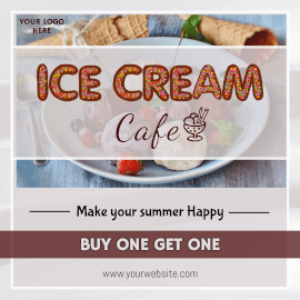 Online Editable Ice Cream Cafe Buy one Get One Offer Animated Design
