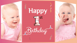 Online Editable First Birthday 2 Grid Photo Collage