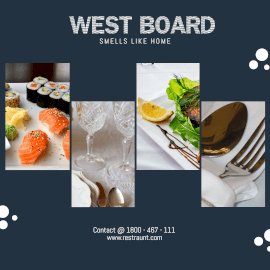 Online Editable West Board Restaurant 4 Grid Photo Collage
