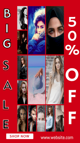 Online Editable Big Sale on Ladies Clothes 13 Grid Photo Collage