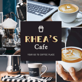 Online Editable Rhea's Coffee Shops 4 Grid Photo Collage