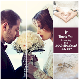 Online Editable Wedding Thank You Cards 4 Grid Photo Collage