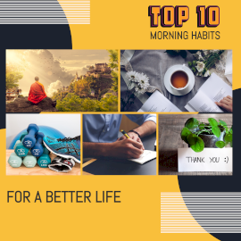 Online Editable Top 10 Morning Habits 5 Grid Photo Collage