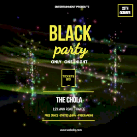 Online Editable Colorful Waves Background Black Party Animated Design