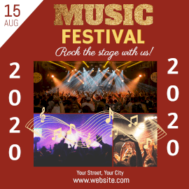 Online Editable Live Rock Music Festival 2020 3 Grid Photo Collage