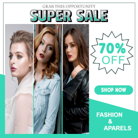 Online Editable Women's Fashion and Apparels Super Sale Offer 3 Grid Photo Collage