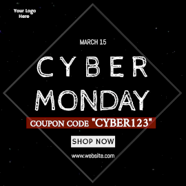 Online Editable Get Coupon Code on Cyber Monday Shopping Animated Design