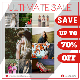 Online Editable Ultimate Sale for Women Fashion 9 Grid Photo Collage
