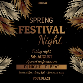 Online Editable Spring Festival DJ Music at Night Club Animated Design
