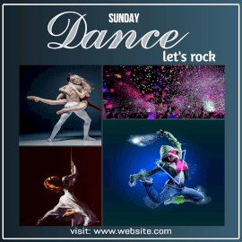 Online Editable Let's Rock Dance on Sunday 5 Grid Photo Collage