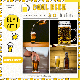Online Editable Get Offer for Cool Beer 4 Grid Photo Collage