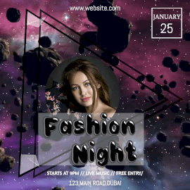 Online Editable Fashion Night Party Animated Design