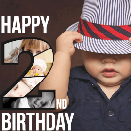 Online Editable Happy 2nd Birthday Wishes 5 Grid Photo Collage