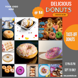 Online Editable Delicious Donuts 13 Grid Photo Collage
