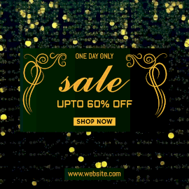 Online Editable Golden Bokeh Falling One Day Offer Sale Animated Design