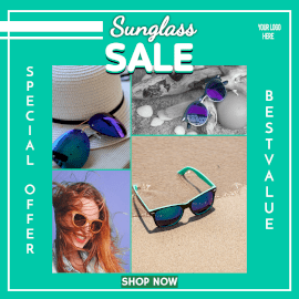 Online Editable Sun Glasses Special Offer 4 Grid Photo Collage