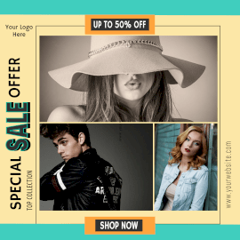 Online Editable Fashion Sale Offer 3 Grid Photo Collage