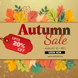 Online Editable Water Bubbles Background Autumn Offer Sale Animated Design
