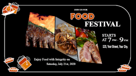 Online Editable Food Festival Event 3 Grid Photo Collage