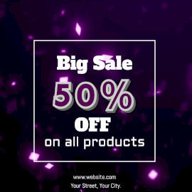 Online Editable Falling Purple Glitter Background Big Sale 50% Off Animated Design
