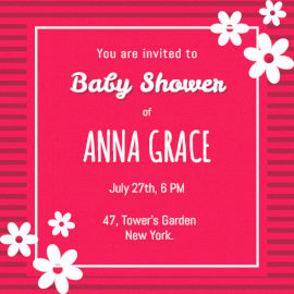 Online Editable Pink Baby Shower Ceremony Invitation