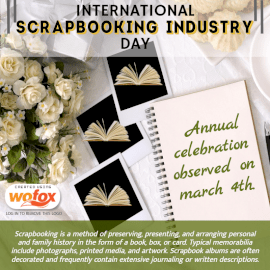 Online Editable International Scrapbooking Industry Day Fact March 4 Social Media Post