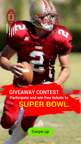 Online Editable Giveaway Contest for Super Bowl Tickets Instagram Story Video Maker