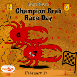 Online Editable National Champion Crab Races Day February 17 Social Media Post