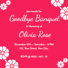 Online Editable Goodbye Banquet Invitation