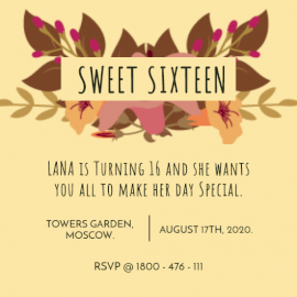 Online Editable Sweet Sixteen Birthday Invitation