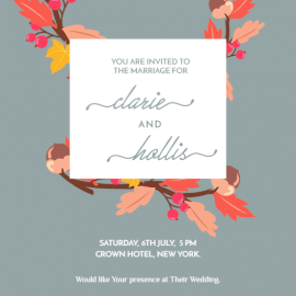Online Editable Floral Marriage Invitation