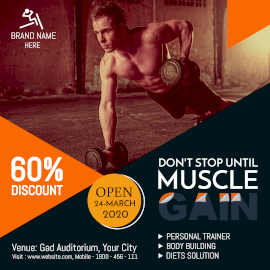 Online Editable Gym Fitness Training Offer Instagram Post
