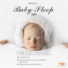 Online Editable Baby Sleep Day March 1 Social Media Post