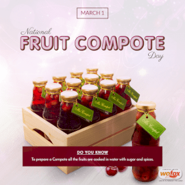 Online Editable National Fruit Compote Day March 1 Social Media Post