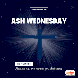 Online Editable Ash Wednesday Quote February 26 Social Media Post