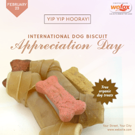 Online Editable International Dog Biscuit Appreciation Day February 23 Social Media Post