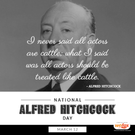 Online Editable National Alfred Hitchcock Day March 12 Social Media Post