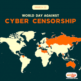 Online Editable World Day Against Cyber Censorship March 12 Social Media Post