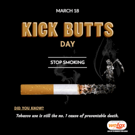 Online Editable National Kick Butts Day March 18 Social Media Post