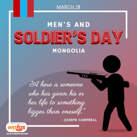 Online Editable Men's and Soldiers' Day Mongolia March 18 Social Media Post