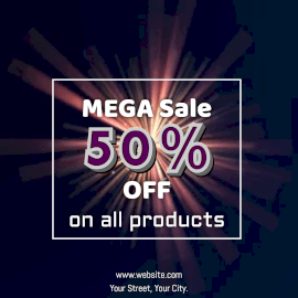 Online Editable Light Ray With Glitter Mega Sale Offer Animated Design