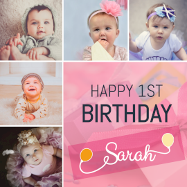 Online Editable Baby Girl First Birthday 5 Grid Photo Collage