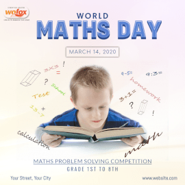 Online Editable World Maths Day March 14 Social Media Post